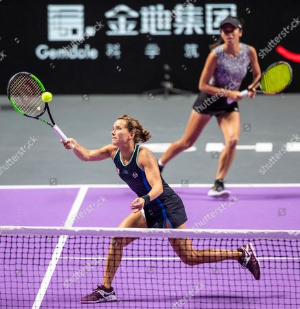 Su Wei Hsieh of Chinese Taipei (R) and Barbora Strycova of Czech Republic (L) in action against Timea Babos of Hungary and Kristina Mladenovic of France at the WTA Finales 2019 tournament doubles final match in Shenzhen, China, 03 November 2019.