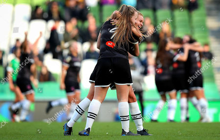 Peamount United vs Wexford Youths WFC. Wexford Youths' Lauren Kelly and Lynn Craven celebrate at the final whistle