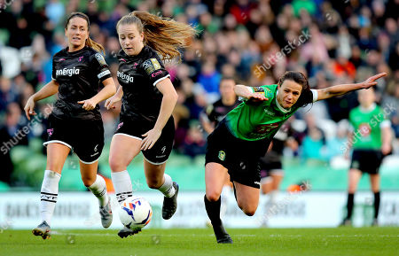Peamount United vs Wexford Youths WFC. Wexford Youths' Lauren Kelly and Aine O'Gorman of Peamount United