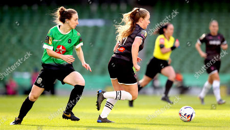 Peamount United vs Wexford Youths WFC. Peamount's Karen Duggan and Lauren Kelly of Wexford Youths