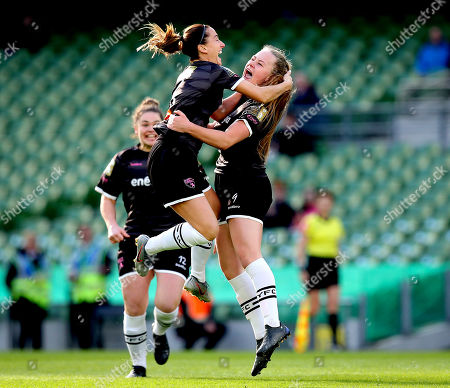 Peamount United vs Wexford Youths WFC. Peamount's Lauren Kelly celebrates scoring the first goal of the game with Kylie Murphy