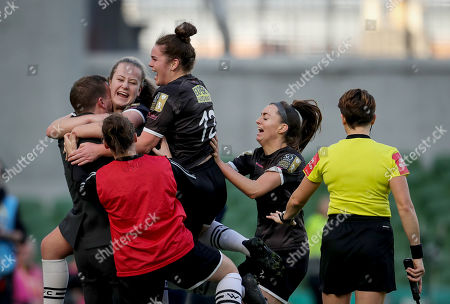 Stock Photo of Peamount United vs Wexford Youths WFC. Wexford Youths' Lauren Kelly celebrates scoring her sides second goal with manager Tom Elmes