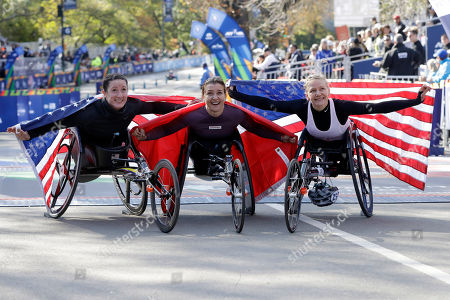 Manuela Schar, Tatyana McFadden, Susannah Scaroni. Manuela Schar, of Switzerland, center, winner of the pro wheelchair women's division of the New York City Marathon, is flanked by second place finisher Tatyana McFadden, left, of Clarksville, Md, and third place finisher Susannah Scaroni, of Tekoa, Wash., in New York's Central Park