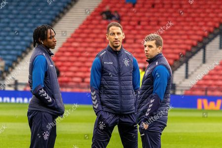 Stock Picture of Joe Aribo of Rangers FC, Nikola Katic of Rangers FC & Jon Flanagan of Rangers FC ahead of the Betfred Scottish League Cup semi-final match between Rangers and Heart of Midlothian at Hampden Park, Glasgow