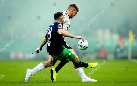 Dundalk vs Shamrock Rovers. Dundalk's Sean Murray and Joey O'Brien of Rovers