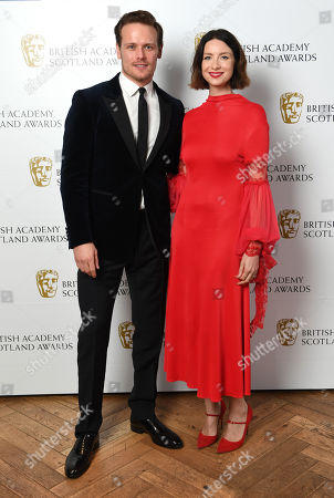 Stock Photo of Exclusive - Director Fiction - Jon S Baird, presenters Sam Heughan and Caitriona Balfe