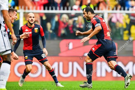 Stock Image of Genoa's Goran Pandev (R) celebrates with teammates Andrea Pinamonti and Riccardo Saponara after scoring the opening goal during the Italian Serie A soccer match between Genoa CFC and Udinese Calcio at Luigi Ferraris stadium in Genoa, Italy, 03 November 2019.