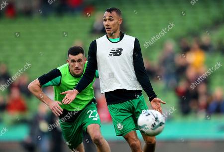 Shamrock Rovers vs Dundalk. Shamrock Rovers' Graham Burke and Aaron Greene during the warm-up