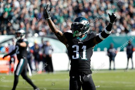 Philadelphia Eagles' Jalen Mills reacts during the first half of an NFL football game against the Chicago Bears, in Philadelphia