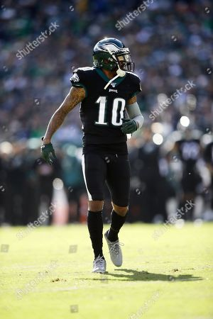 Philadelphia Eagles' DeSean Jackson in action during the first half of an NFL football game against the Chicago Bears, in Philadelphia