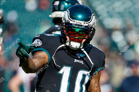 Stock Picture of Philadelphia Eagles wide receiver DeSean Jackson (10) reacts prior to the the NFL football game against the Chicago Bears, in Philadelphia. The Eagles won 22-14