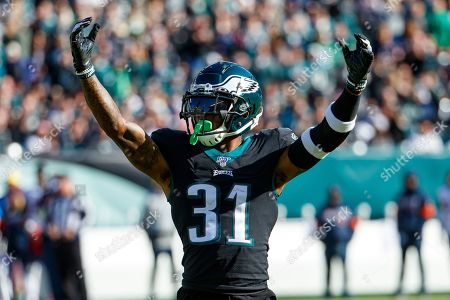 Philadelphia Eagles cornerback Jalen Mills (31) reacts during the the NFL football game against the Chicago Bears, in Philadelphia. The Eagles won 22-14