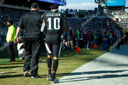 Philadelphia Eagles wide receiver DeSean Jackson (10) heads back to the sidelines from the locker room during the the NFL football game against the Chicago Bears, in Philadelphia. The Eagles won 22-14