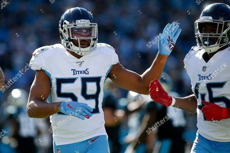 Tennessee Titans inside linebacker Wesley Woodyard (59) reacts during the first half of an NFL football game against the Carolina Panthers in Charlotte, N.C