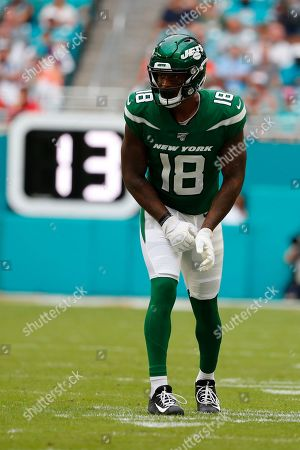 New York Jets wide receiver Demaryius Thomas (18) in action during the second half of an NFL football game against the Miami Dolphins, in Miami Gardens, Fla