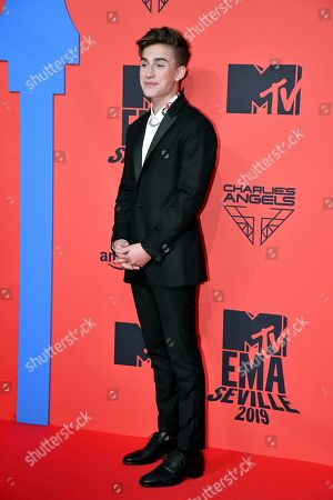 Johnny Orlando attends the MTV European Music Awards 2019 (MTV EMA 2019), held at the FIBES Conference and Exhibition Centre in Seville, Andalusia, Spain, 03 November 2019.