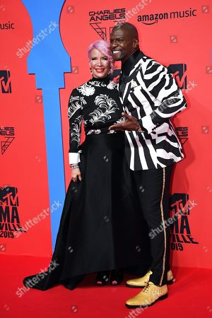 Terry Crews (R) with wife US actress Rebecca King-Crews (L) attend the MTV European Music Awards 2019 (MTV EMA 2019), held at the FIBES Conference and Exhibition Centre in Seville, Andalusia, Spain, 03 November 2019.