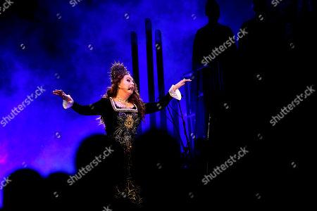 British soprano Sarah Brightman performs her new production 'HYMN' in Riga, Latvia, 03 November 2019.