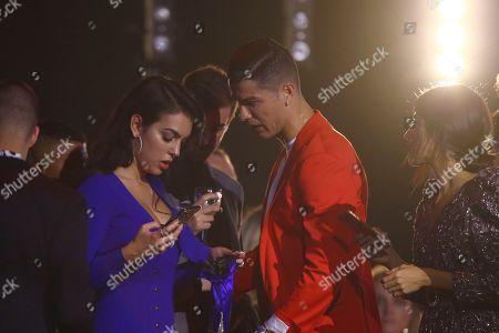 Cristiano Ronaldo, Georgina Rodriguez. Soccer player Cristiano Ronaldo, right, and Georgina Rodriguez during the European MTV Awards in Seville, Spain