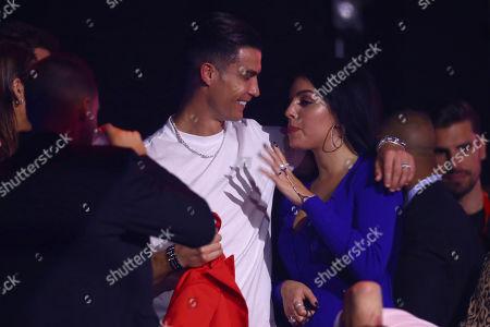 Cristiano Ronaldo, Georgina Rodriguez. Soccer player Cristiano Ronaldo, left, and Georgina Rodriguez during the European MTV Awards in Seville, Spain