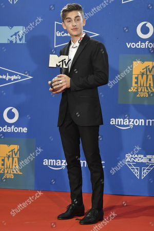 Johnny Orlando poses with his award during the MTV European Music Awards 2019 (MTV EMA 2019), held at the FIBES Conference and Exhibition Centre in Seville, Andalusia, Spain, 03 November 2019.
