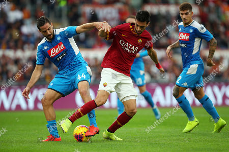 Kostantinos Manolas of SSC Napoli (L) and Javier Pastore of AS Roma (R) in action during the Italian championship Serie A football match between AS Roma and SSC Napoli on at Olimpico stadium in Rome, Italy - (Photo by Federico Proietti/ESPA-Images)