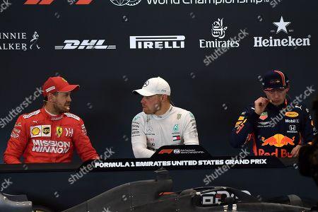 Pole position for Valtteri Bottas (FIN#77), Mercedes-AMG Petronas Motorsport Second position for Sebastian Vettel (GER#5), Scuderia Ferrari Mission Winnow Third position for Max Verstappen (NEL#33), Aston Martin Red Bull Racing