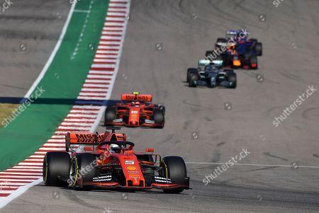 Sebastian Vettel (GER#5), Scuderia Ferrari Mission Winnow, Charles Leclerc (MCO#16), Scuderia Ferrari Mission Winnow, Lewis Hamilton (GB#44), Mercedes-AMG Petronas Motorsport, Max Verstappen (NEL#33), Aston Martin Red Bull Racing, Daniil Kvyat (RUS#26), Red Bull Toro Rosso Honda