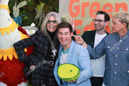 """Diane Keaton, Adam Devine, Jared Stern, Ellen DeGeneres. Diane Keaton, from left, Adam Devine, Jared Stern and Ellen DeGeneres attend the premiere of Netflix's """"Green Eggs and Ham,"""" at the Hollywood American Legion Post 43, in Los Angeles"""