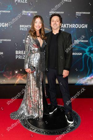 Stock Photo of Nicole Shanahan and Sergey Brin