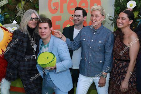"Diane Keaton, Adam Devine, Jared Stern, Ellen DeGeneres, Ilana Glazer. Diane Keaton, from left, Adam Devine, Jared Stern, Ellen DeGeneres, and Ilana Glazer attend the premiere of Netflix's ""Green Eggs and Ham"" at the Hollywood American Legion Post 43 on in Los Angeles"