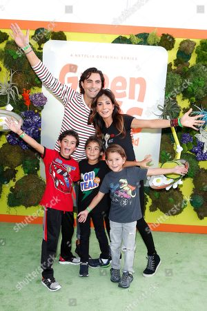 Patricia Manterola (R, top) and family pose with their children on the green carpet before the Season 1 premiere of Green Eggs and Ham at Hollywood Post 43 in Los Angeles, California, USA, 03 November 2019. Green Eggs and Ham launches globally 08 November 2019 on Netflix.
