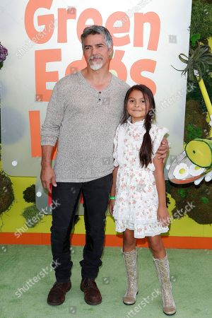 Esai Morales and his daughter pose on the green carpet before the Season 1 premiere of Green Eggs and Ham at Hollywood Post 43 in Los Angeles, California, USA, 03 November 2019. Green Eggs and Ham launches globally 08 November 2019 on Netflix.