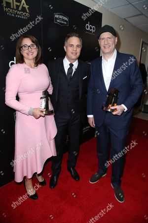Stock Photo of Victoria Alonso, Mark Ruffalo and Kevin Feige