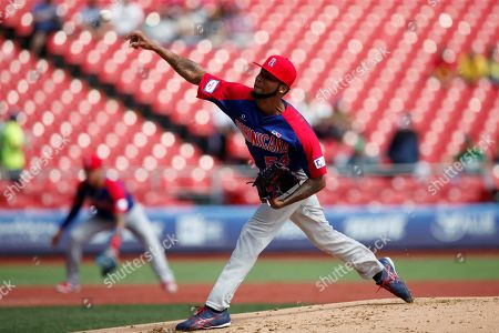 Ervin Santana from Dominican Republic pitches during the second game of the Premier 12 tournament, between the Dominican Republic and the Netherlands, at the Charros de Jalisco Baseball Stadium in the city of Zapopan, Jalisco, Mexico, 03 November 2019.