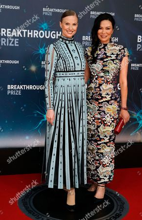 Breakthrough Prize Co-Founder Julia Milner (L) and Nicole Shanahan (R) on the red carpet before the eighth annual Breakthrough Prize Awards, held at the NASA Ames Research Center in Mountain View, California, USA, 03 November 2019. The Breakthrough Prize is awarded annually, and recognizes the world's top scientists. Considered the world's most generous science prize, each Breakthrough Prize is three million US dollar and presented in the fields of Life Sciences (up to four per year), Fundamental Physics (one per year) and Mathematics (one per year).