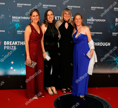 Stock Picture of (L-R) Anne Wojciki, Breakthrough Prize Co-Founder and CEO, along with Janet Wojcicki, Esther Wojcicki and Susan Wojcicki pose on the red carpet before the eighth annual Breakthrough Prize Awards, held at the NASA Ames Research Center in Mountain View, California, USA, 03 November 2019. The Breakthrough Prize is awarded annually, and recognizes the world's top scientists. Considered the world's most generous science prize, each Breakthrough Prize is three million US dollar and presented in the fields of Life Sciences (up to four per year), Fundamental Physics (one per year) and Mathematics (one per year).