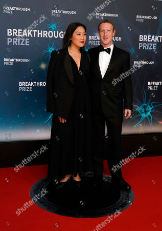 Facebook CEO Mark Zuckergerg (R) and his wife Priscilla Chan (L) pose on the red carpet before the eighth annual Breakthrough Prize Awards, held at the NASA Ames Research Center in Mountain View, California, USA, 03 November 2019. The Breakthrough Prize is awarded annually, and recognizes the world's top scientists. Considered the world's most generous science prize, each Breakthrough Prize is three million US dollar and presented in the fields of Life Sciences (up to four per year), Fundamental Physics (one per year) and Mathematics (one per year).