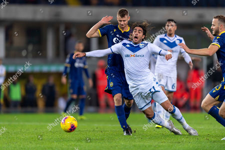 Stock Image of Alessandro Matri (Brescia) Pawel Marek Dawidowicz (Hellas Verona)