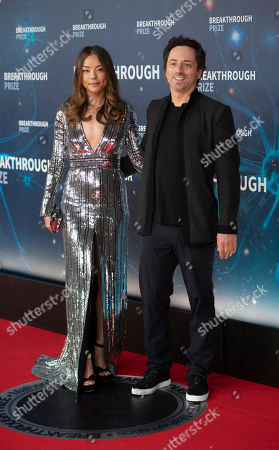 Stock Picture of Nicole Shanahan and Sergey Brin seen at the 8th Annual Breakthrough Prize Ceremony at NASA Ames Research Center, in Mountain View, Calif