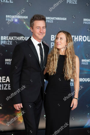 Ed Norton and Shauna Robertson seen at the 8th Annual Breakthrough Prize Ceremony at NASA Ames Research Center, in Mountain View, Calif