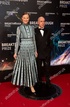 Stock Picture of Julia and Yuri Milner seen at 8th Annual Breakthrough Prize Ceremony at NASA Ames Research Center, in Mountain View, Calif