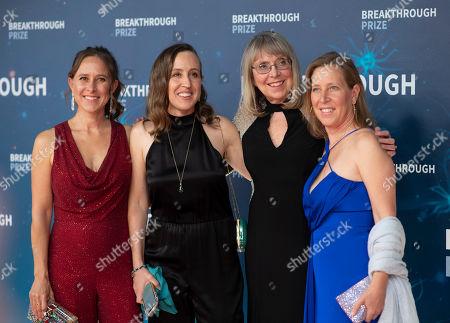 Anne Wojcicki, Janet Wojcicki, Esther Wojcicki, and Susan Wojcicki seen at the 8th Annual Breakthrough Prize Ceremony at NASA Ames Research Center, in Mountain View, Calif