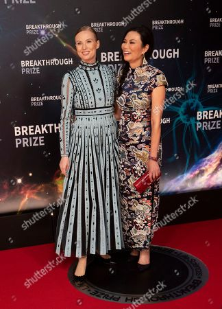 Wendy Deng Murdoch, Julia Milner. Julia Milner and Wendy Deng pose at the 8th Annual Breakthrough Prize Ceremony at NASA Ames Research Center, in Mountain View, Calif