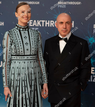 Stock Photo of Julia and Yuri Milner seen at 8th Annual Breakthrough Prize Ceremony at NASA Ames Research Center, in Mountain View, Calif