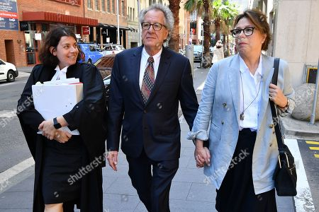 Stock Picture of Australian actor Geoffrey Rush (C) returns to the Federal Court after a break in Sydney, Australia, 04 November 2019. Three Federal Court judges are due to begin hearing an appeal by Nationwide News against a finding it defamed actor Geoffrey Rush and against his damages award of 2 million US dollars.