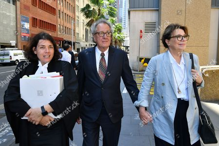 Stock Photo of Australian actor Geoffrey Rush (C) returns to the Federal Court after a break in Sydney, Australia, 04 November 2019. Three Federal Court judges are due to begin hearing an appeal by Nationwide News against a finding it defamed actor Geoffrey Rush and against his damages award of 2 million US dollars.