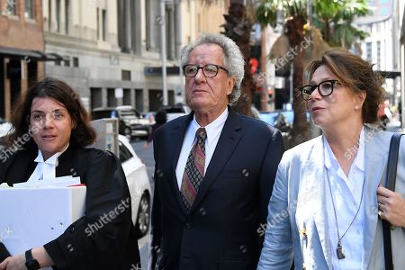 Australian actor Geoffrey Rush (C) returns to the Federal Court after a break in Sydney, Australia, 04 November 2019. Three Federal Court judges are due to begin hearing an appeal by Nationwide News against a finding it defamed actor Geoffrey Rush and against his damages award of 2 million US dollars.