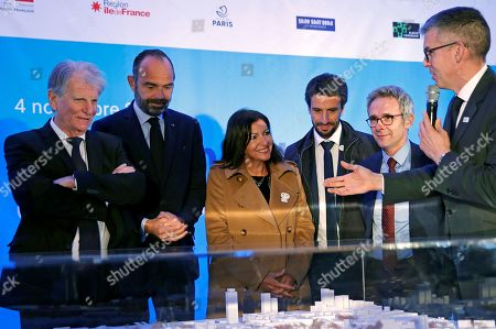 French Prime Minister Edouard Philippe (2-L), Mayor of Paris Anne Hidalgo (C) and Tony Estanguet (3-R), President of the Paris Organising Committee of the 2024 Olympic and Paralympic Games, attend a ceremony to mark the start of the construction of Paris 2024 Olympic Village in Saint-Ouen, outside Paris, France, 04 November 2019.