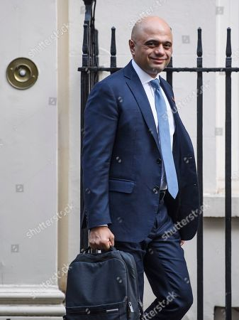 Chancellor Sajid Javid is seen leaving number 11 Downing Street